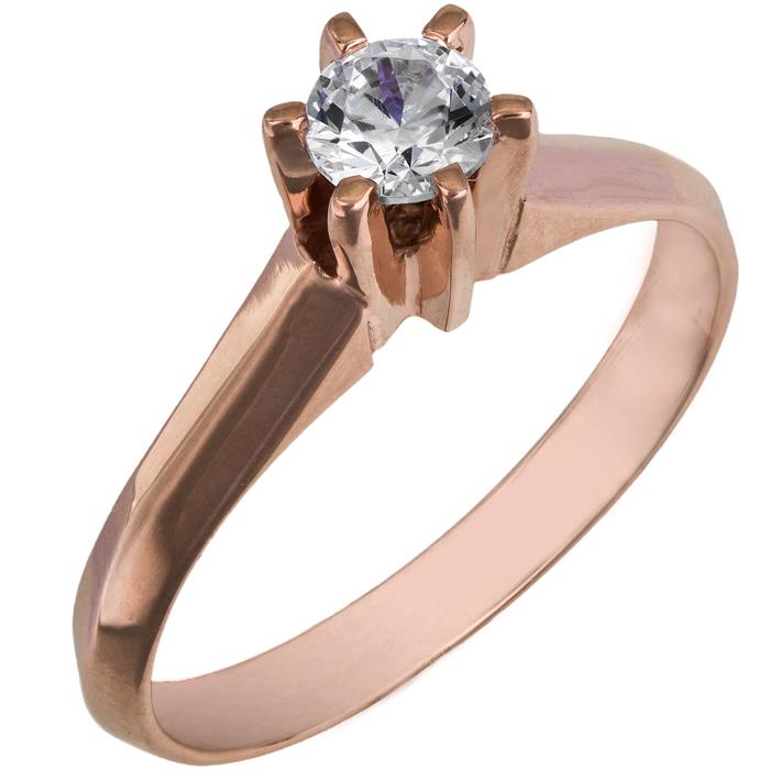 Ροζ gold μονόπετρο swarovski Κ14 025865 025865 Χρυσός 14 Καράτια