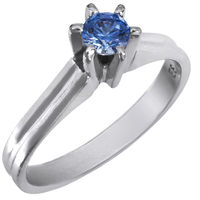Μονόπετρο λευκόχρυσο Κ14 με μπλε πέτρα swarovski 025867 025867 Χρυσός 14 Καράτια