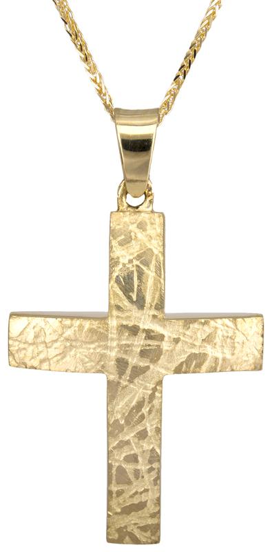 Βαπτιστικοί Σταυροί με Αλυσίδα Βαπτιστικός σταυρός για αγόρι Κ18 025876C 025876C Ανδρικό Χρυσός 18 Καράτια