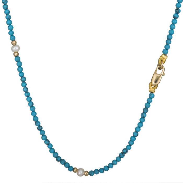 Κολιέ με τυρκουάζ πέτρες και μαργαριταράκια χρυσό Κ14 025881 025881 Χρυσός 14 Καράτια