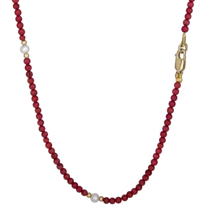 Χρυσό κολιέ με πέτρες Coral και μαργαριτάρια Κ14 025882 025882 Χρυσός 14 Καράτια