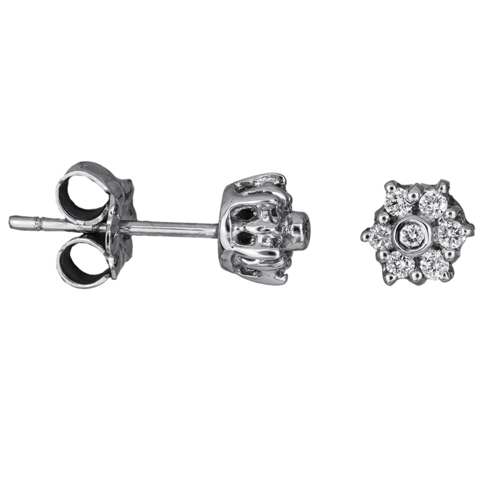 Σκουλαρίκια ροζέτες με διαμάντια Κ18 025899 025899 Χρυσός 18 Καράτια
