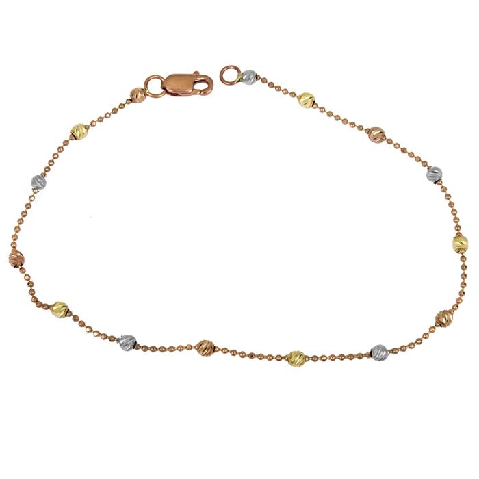 Ροζ gold βραχιόλι Κ14 με τρίχρωμες μπιλίτσες 025911 025911 Χρυσός 14 Καράτια