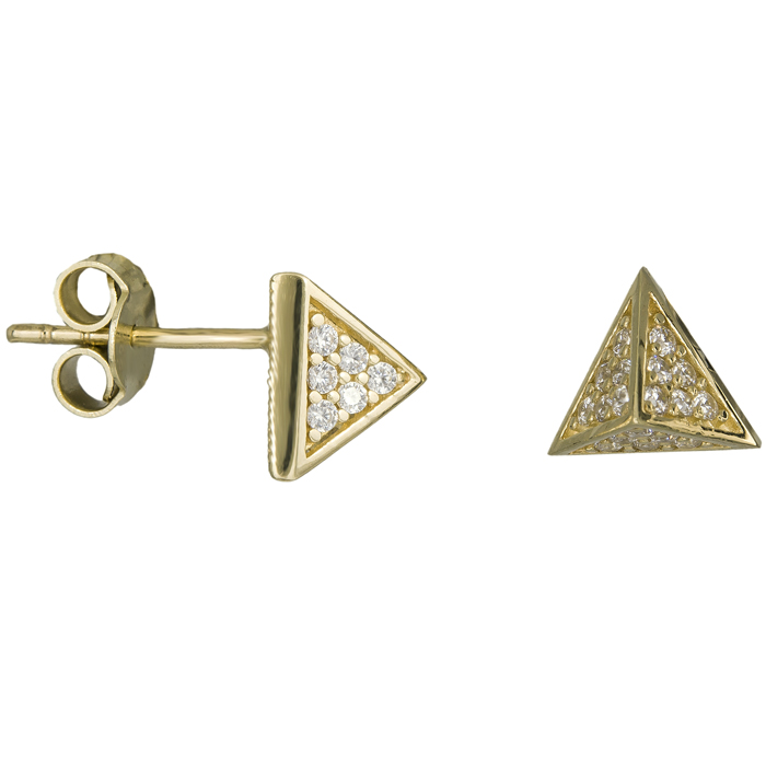 Χρυσά σκουλαρίκια πυραμίδα Κ14 025921 025921 Χρυσός 14 Καράτια