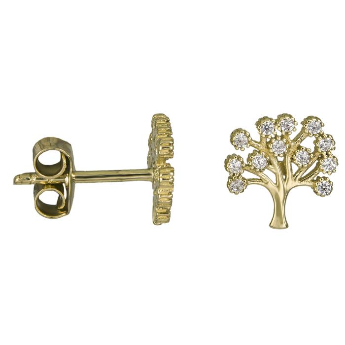 Χρυσά σκουλαρίκια δέντρο της ζωής Κ14 025922 025922 Χρυσός 14 Καράτια