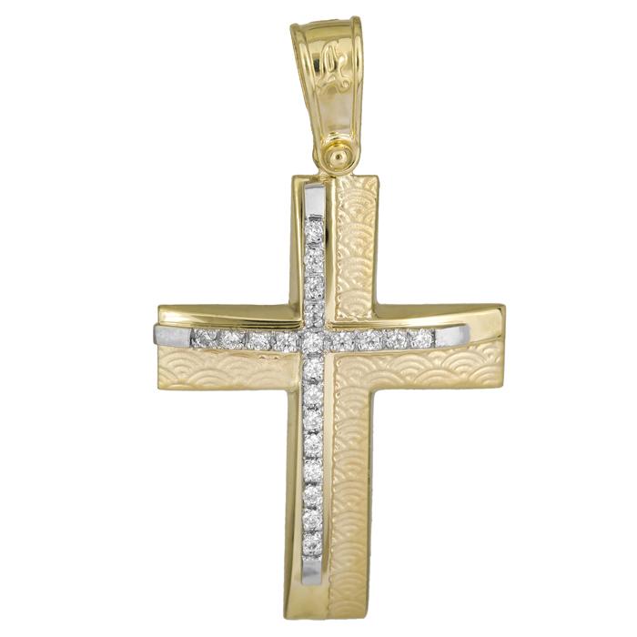 Σταυροί Βάπτισης - Αρραβώνα Γυναικείος σταυρός δίχρωμος 14Κ ανάγλυφος 025937 025937 Γυναικείο Χρυσός 14 Καράτια