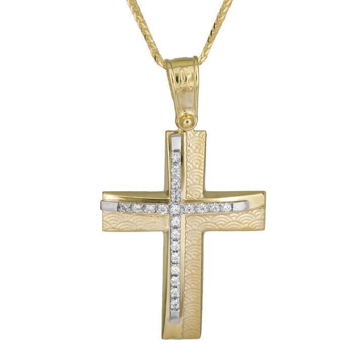 Βαπτιστικοί Σταυροί με Αλυσίδα Δίχρωμος σταυρός βάπτισης 14Κ ανάγλυφος με αλυσίδα 025937C 025937C Γυναικείο Χρυσός 14 Καράτια