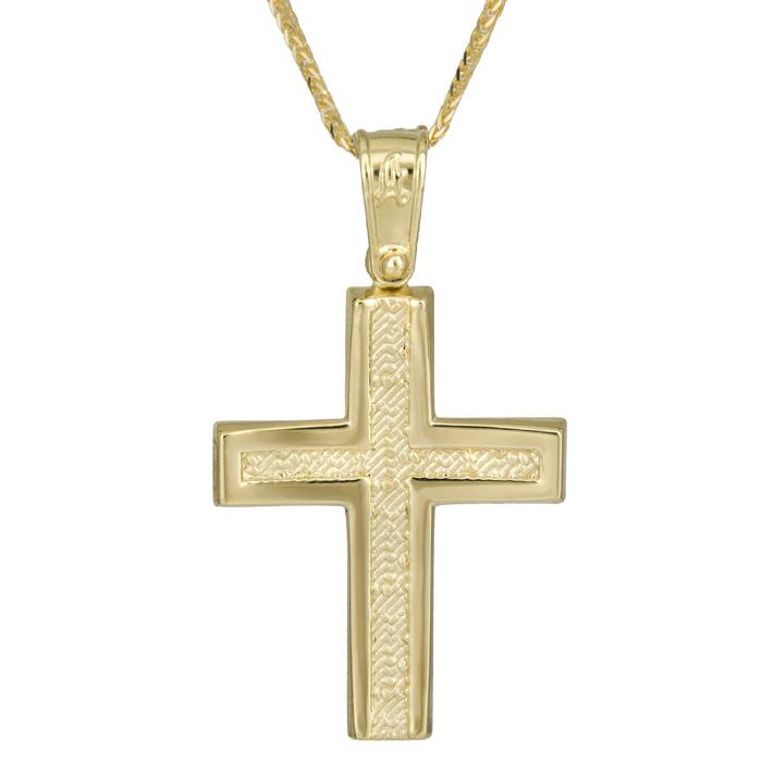 Βαπτιστικοί Σταυροί με Αλυσίδα Ανάγλυφος χρυσός σταυρός Κ14 με αλυσίδα 025938C 025938C Ανδρικό Χρυσός 14 Καράτια