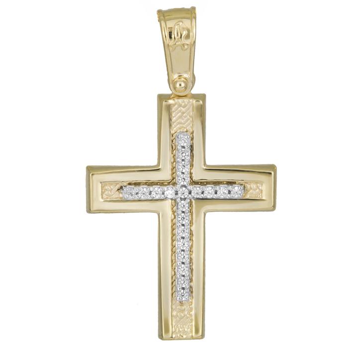 Σταυροί Βάπτισης - Αρραβώνα Χρυσός γυναικείος σταυρός Κ14 με πέτρες ζιργκόν 025939 025939 Γυναικείο Χρυσός 14 Καράτια
