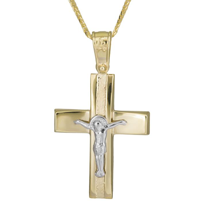 Βαπτιστικοί Σταυροί με Αλυσίδα Ανδρικός δίχρωμος σταυρός Κ14 με χρυσή καδένα 025940C 025940C Ανδρικό Χρυσός 14 Καράτια