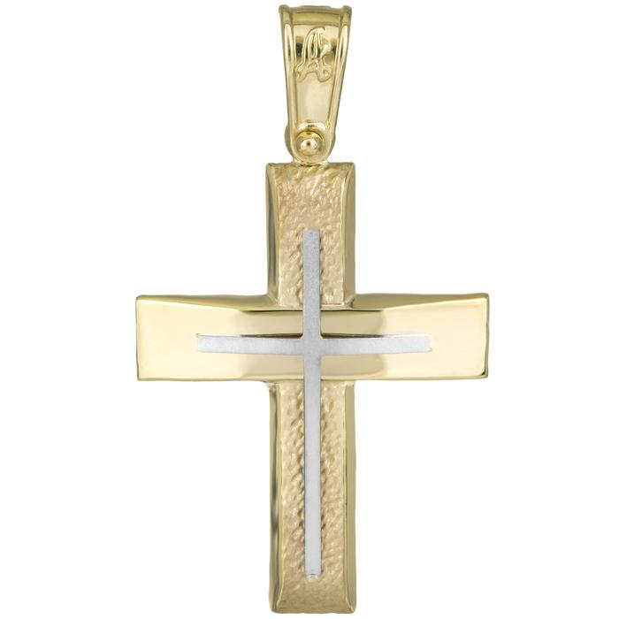 Σταυροί Βάπτισης - Αρραβώνα Ανδρικός δίχρωμος σταυρός Κ14 με ανάγλυφο σχέδιο 025941 025941 Ανδρικό Χρυσός 14 Καράτια