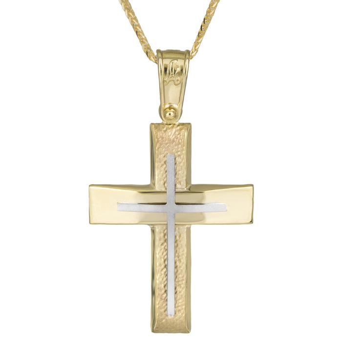Βαπτιστικοί Σταυροί με Αλυσίδα Δίχρωμος σταυρός Κ14 με γωνίες σε αλυσίδα χρυσή 025941C 025941C Ανδρικό Χρυσός 14 Καράτια