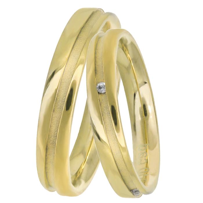 Χρυσές Ιταλικές βέρες Κ14 με διαμάντι 025963 025963 Χρυσός 14 Καράτια