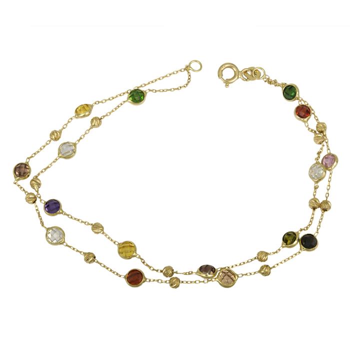Χρυσό βραχιόλι Κ14 με χρωματιστές πέτρες ζιργκόν 025985 025985 Χρυσός 14 Καράτια