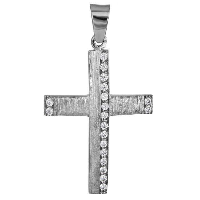 Σταυροί Βάπτισης - Αρραβώνα Λευκόχρυσος γυναικείος σταυρός ματ ανάγλυφος Κ14 025 σταυροί βάπτισης   γάμου σταυροί βάπτισης   αρραβώνα