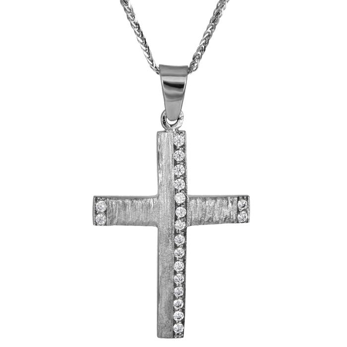 Βαπτιστικοί Σταυροί με Αλυσίδα Ανάγλυφος γυναικείος σταυρός λευκόχρυσος Κ14 σε αλυσίδα 025988C 025988C Γυναικείο Χρυσός 14 Καράτια