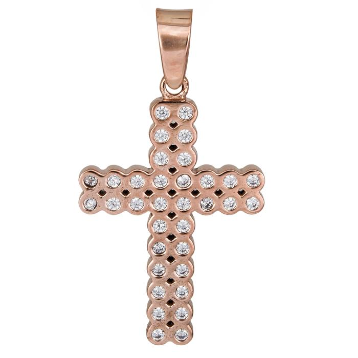 Σταυροί Βάπτισης - Αρραβώνα Ροζ gold σταυρός Κ14 με πέτρες ζιργκόν 025989 025989 Γυναικείο Χρυσός 14 Καράτια