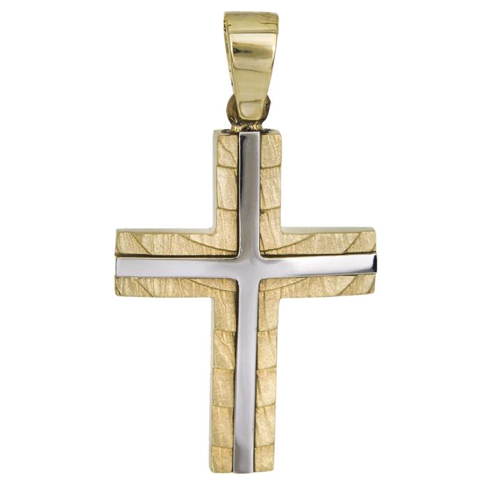 Σταυροί Βάπτισης - Αρραβώνα Ανδρικός σταυρός δίχρωμος Κ14 χειροποίητος 026017 026017 Ανδρικό Χρυσός 14 Καράτια