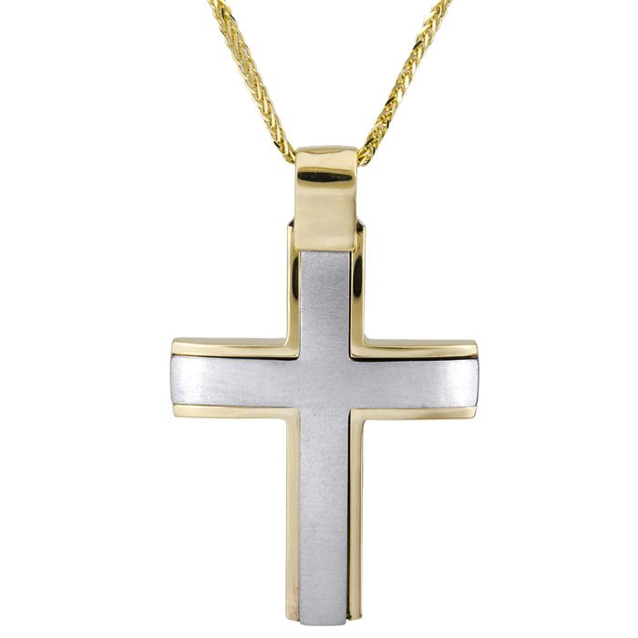 Βαπτιστικοί Σταυροί με Αλυσίδα Ανδρικός δίχρωμος ματ σταυρός Κ14 με χρυσή αλυσίδα 026019C 026019C Ανδρικό Χρυσός 14 Καράτια