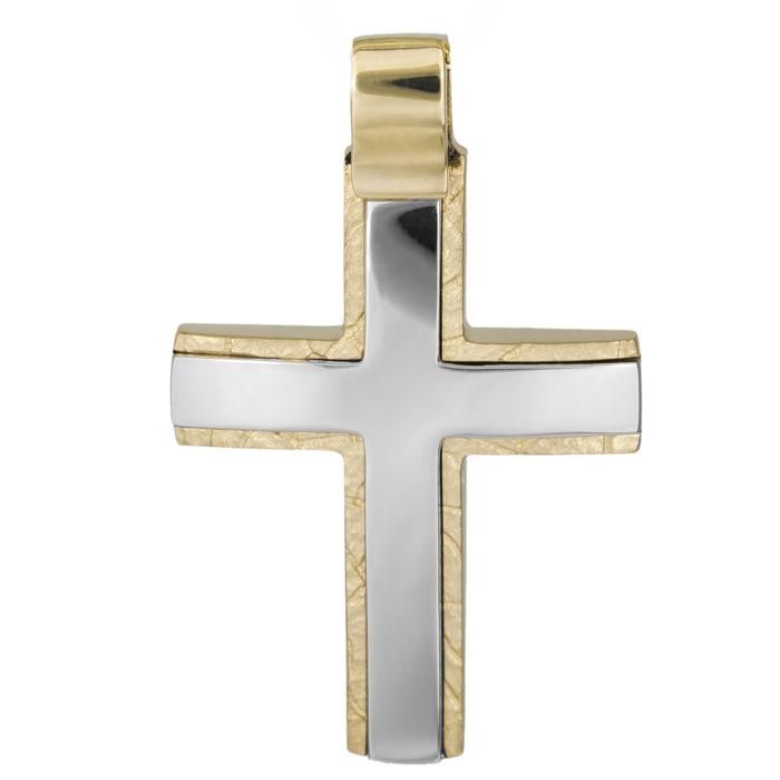Σταυροί Βάπτισης - Αρραβώνα Ανδρικός σταυρός δίχρωμος Κ14 ανάγλυφος 026021 026021 Ανδρικό Χρυσός 14 Καράτια