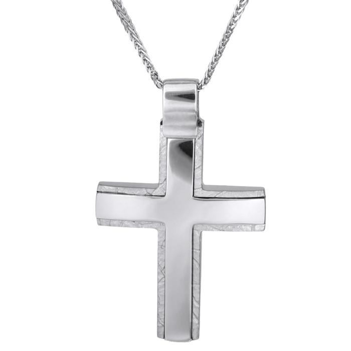 Βαπτιστικοί Σταυροί με Αλυσίδα Σταυρός βάπτισης με αλυσίδα λευκόχρυσος Κ14 ανδρικός 026022C 026022C Ανδρικό Χρυσός 14 Καράτια
