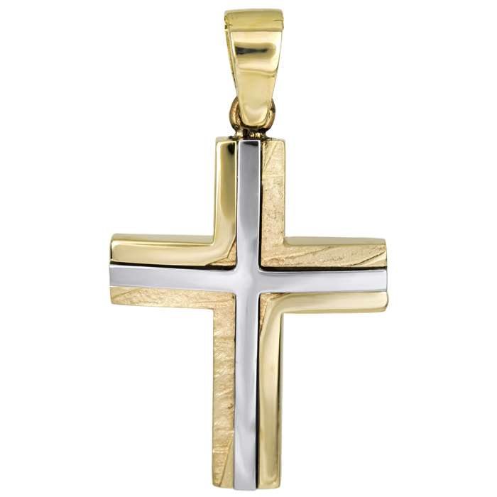 Σταυροί Βάπτισης - Αρραβώνα Σταυρός δίχρωμος Κ14 χειροποίητος 026023 026023 Ανδρικό Χρυσός 14 Καράτια