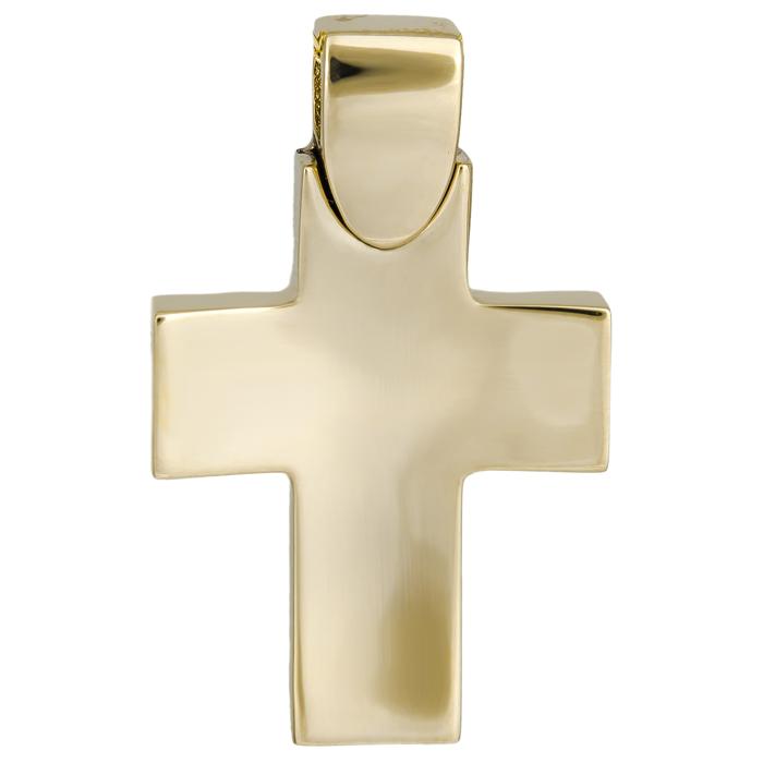 Σταυροί Βάπτισης - Αρραβώνα Απλός χρυσός σταυρός Κ14 λουστρέ 026025 026025 Ανδρικό Χρυσός 14 Καράτια