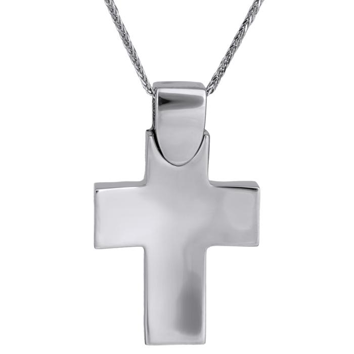 Βαπτιστικοί Σταυροί με Αλυσίδα Λευκόχρυσος αντρικός σταυρός με αλυσίδα Κ14 026026C 026026C Ανδρικό Χρυσός 14 Καράτια
