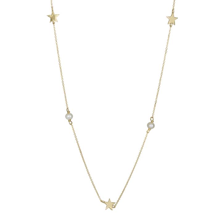 Γυναικείο κολιέ με αστεράκια και μαργαριταράκια Κ14 026038 026038 Χρυσός 14 Καράτια