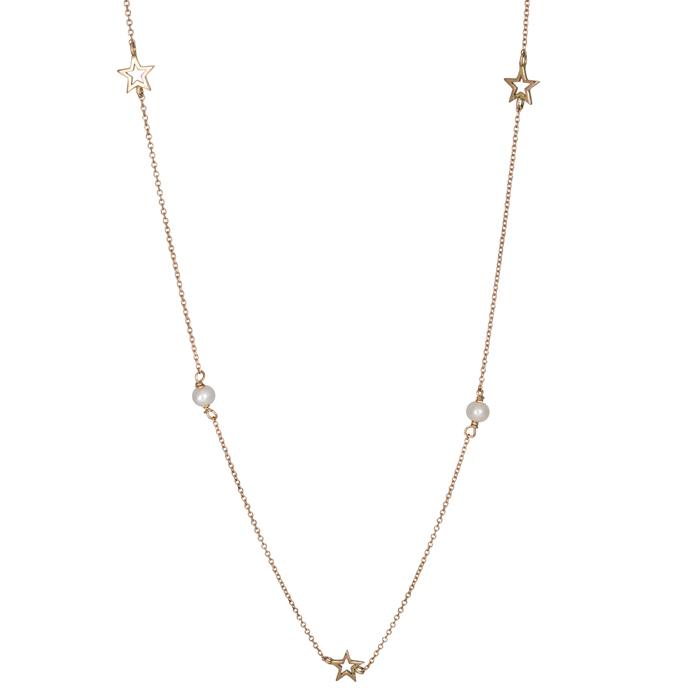 Γυναικείο ροζ χρυσό κολιέ 14Κ με αστεράκια 026040 026040 Χρυσός 14 Καράτια