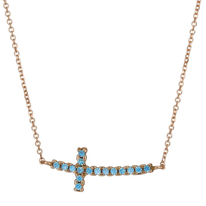 Ροζ gold κολιέ 14Κ με πετράτο σταυρό διπλής όψεως 026041 026041 Χρυσός 14 Καράτια