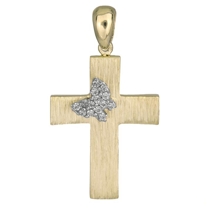 Σταυροί Βάπτισης - Αρραβώνα Ανάγλυφος χρυσός σταυρός Κ14 με πετράτη πεταλούδα 026054 026054 Γυναικείο Χρυσός 14 Καράτια