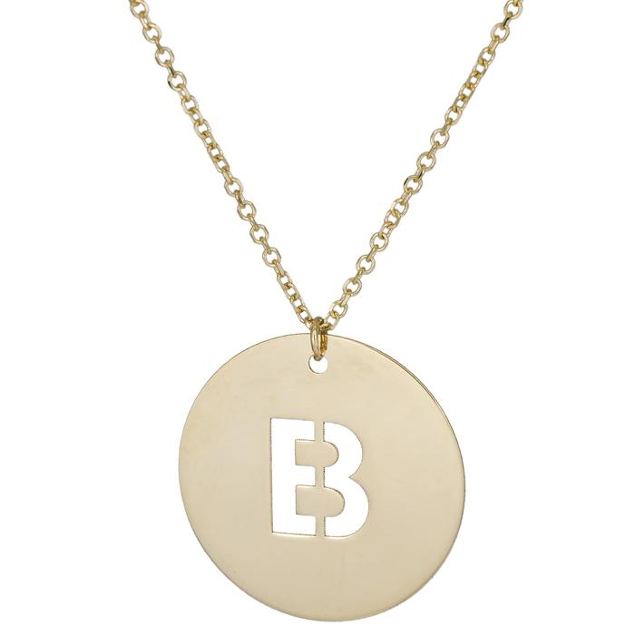 Γυναικείο κολιέ με χρυσό δίσκο με μονόγραμμα Β Κ14 026069 026069 Χρυσός 14 Καράτια