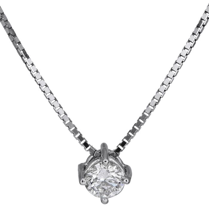 Γυναικείο λευκόχρυσο κολιέ Κ18 με διαμάντι 026088 026088 Χρυσός 18 Καράτια