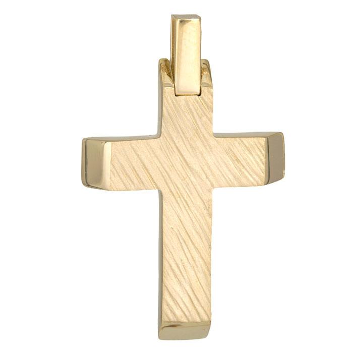 Σταυροί Βάπτισης - Αρραβώνα Χρυσός ανάγλυφος σταυρός Κ14 ανδρικός 026093 026093 Ανδρικό Χρυσός 14 Καράτια
