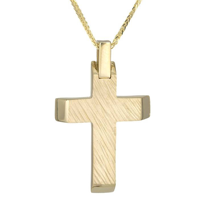 Βαπτιστικοί Σταυροί με Αλυσίδα Ανδρικός χρυσός σταυρός 14Κ με χρυσή καδένα 026093C 026093C Ανδρικό Χρυσός 14 Καράτια