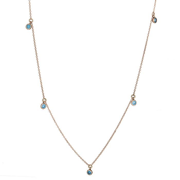 Ροζ gold κολιέ Κ14 με τυρκουάζ ζιργκόν πετρούλες 026098 026098 Χρυσός 14 Καράτια