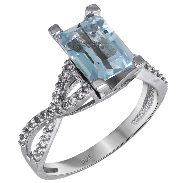 Λευκόχρυσο δαχτυλίδι swarovski Κ14 με σιέλ topaz 026116 026116 Χρυσός 14 Καράτια