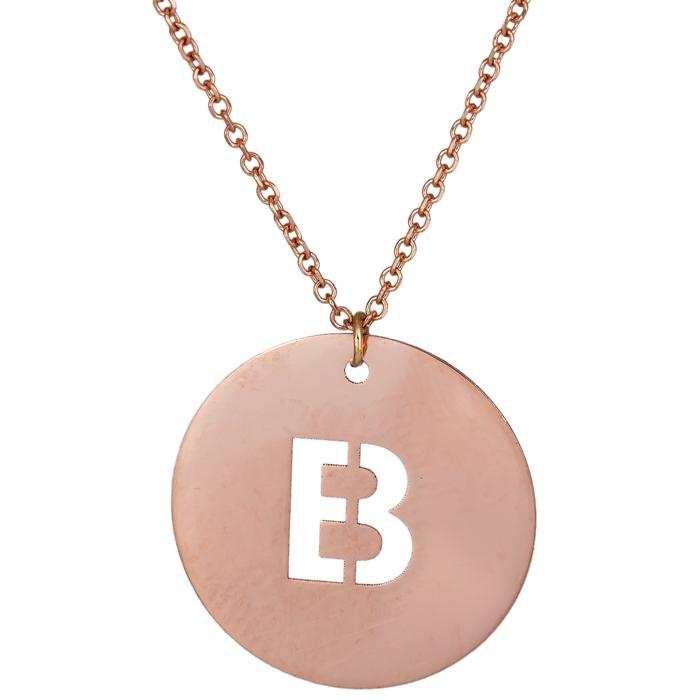 Γυναικείο κολιέ με μονόγραμμα Β σε ροζ gold Κ14 026132 026132 Χρυσός 14  Καράτια bac2e672f5c