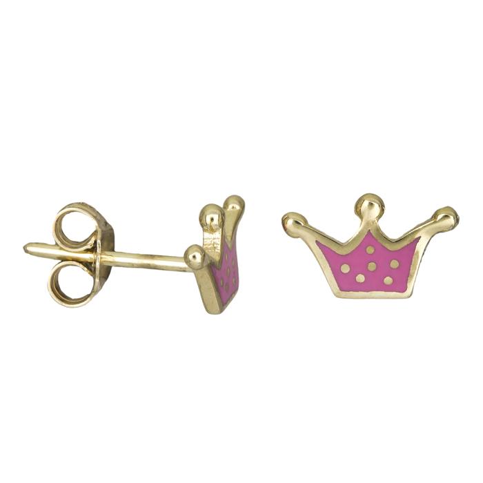 Σκουλαρίκια χρυσά Κ9 ροζ κορώνες 026138 026138 Χρυσός 9 Καράτια