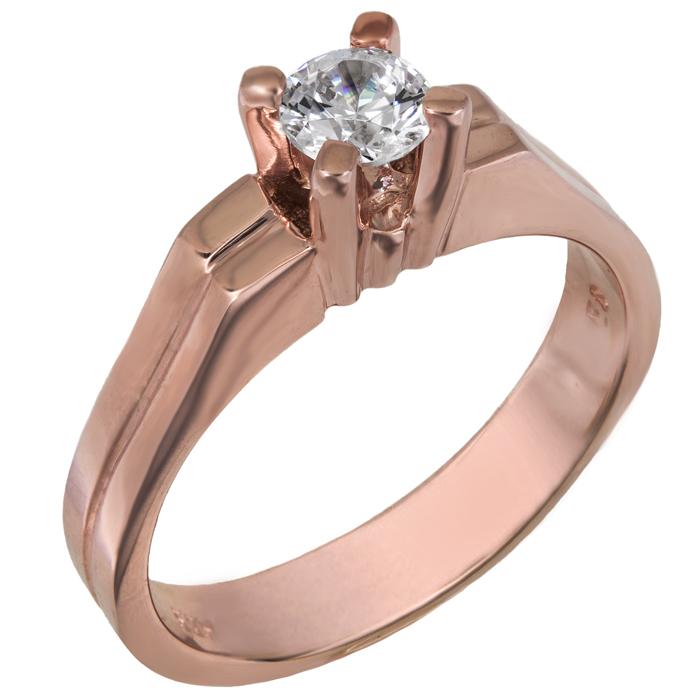 Ροζ gold μονόπετρο Κ14 με πέτρα swarovski 026140 026140 Χρυσός 14 Καράτια