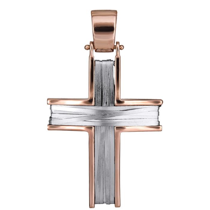 Σταυροί Βάπτισης - Αρραβώνα Δίχρωμος χειροποίητος σταυρός συρματερός Κ14 026142 026142 Γυναικείο Χρυσός 14 Καράτια