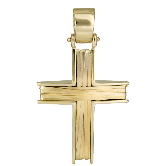 Σταυροί Βάπτισης - Αρραβώνα Ανδρικός χρυσός σταυρός Κ14 συρματερός 026143 026143 Ανδρικό Χρυσός 14 Καράτια