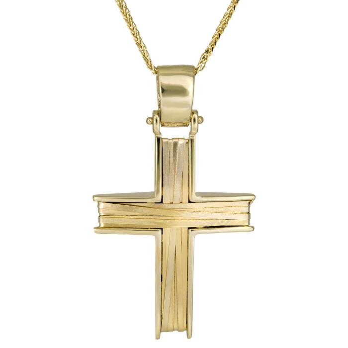 Βαπτιστικοί Σταυροί με Αλυσίδα Συρματερός χρυσός σταυρός Κ14 με χρυσή αλυσίδα 026143C 026143C Ανδρικό Χρυσός 14 Καράτια