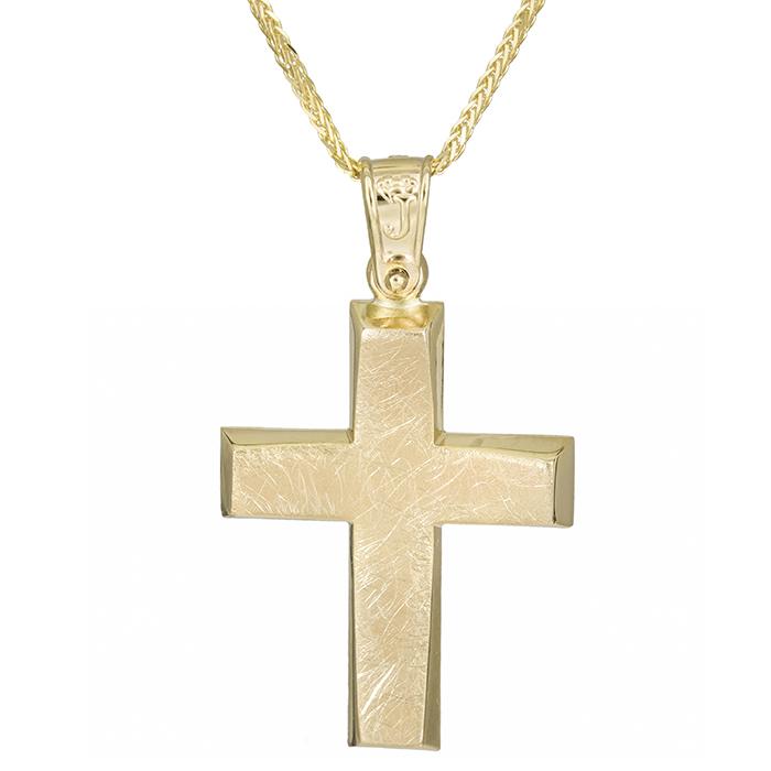 Βαπτιστικοί Σταυροί με Αλυσίδα Χρυσός αντρικός σταυρός Κ14 με αλυσίδα 026170C 026170C Ανδρικό Χρυσός 14 Καράτια
