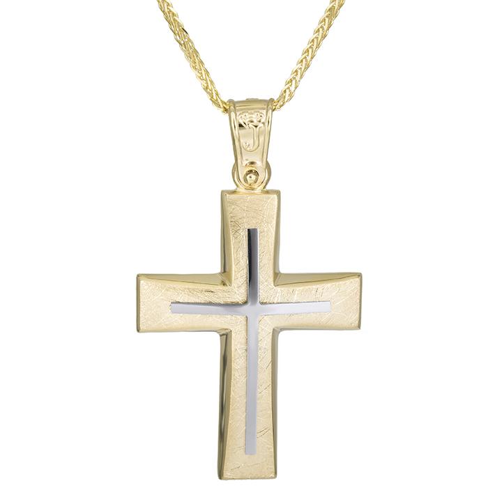 Βαπτιστικοί Σταυροί με Αλυσίδα Χρυσός χειροποίητος σταυρός Κ14 με αλυσίδα 026171C 026171C Ανδρικό Χρυσός 14 Καράτια