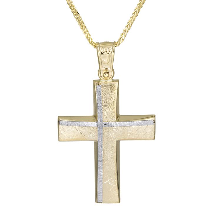 Βαπτιστικοί Σταυροί με Αλυσίδα Αντρικός χειροποίητος σταυρός Κ14 με αλυσίδα 026172C 026172C Ανδρικό Χρυσός 14 Καράτια