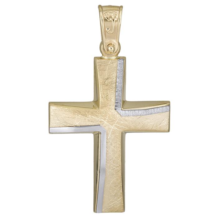 Σταυροί Βάπτισης - Αρραβώνα Χειροποίητος αντρικός σταυρός Κ14 χωρίς πέτρες 026173 026173 Ανδρικό Χρυσός 14 Καράτια