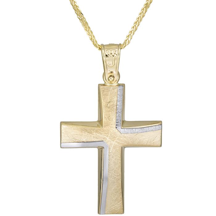 Βαπτιστικοί Σταυροί με Αλυσίδα Αντρικός σταυρός από χρυσό Κ14 με αλυσίδα 026173C 026173C Ανδρικό Χρυσός 14 Καράτια