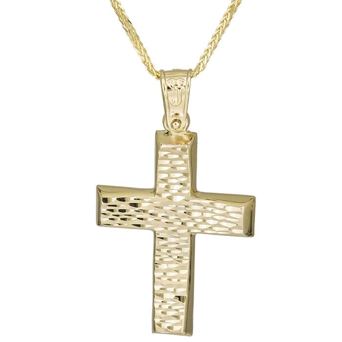 Βαπτιστικοί Σταυροί με Αλυσίδα Αντρικός χρυσός σταυρός Κ14 με αλυσίδα 026174C 026174C Ανδρικό Χρυσός 14 Καράτια